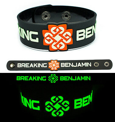 BREAKING BENJAMIN Rubber Bracelet Wristband Glows in the Dark