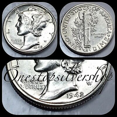 AU 1942-D Mercury Dime - Denver Mint - US 90% Silver Coin