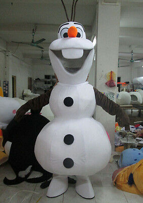 New smiling Olaf Frozen Mascot Costume Snowman Character Costume Christmas@!!--
