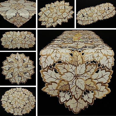 Leaf Doily Tablecloth Table runner Topper Cream Brown Autumn Fall Embroidery NEW