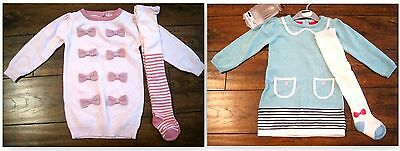 new baby girls knit dress tights pink set age 0-3 3-6 6-9 9-12 12-18 18-24 2-3