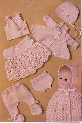 Vintage Knitting Pattern 7 Items Baby Dolls Clothes Layette 10-12""