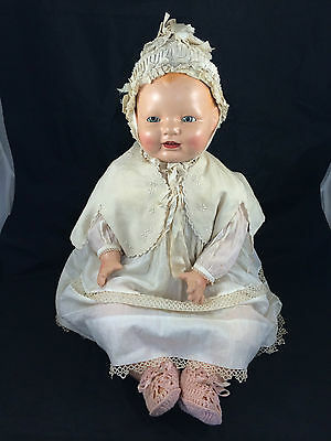 "Huge 26"" Horsman Baby Dimples Composition Doll with Antique Clothing"