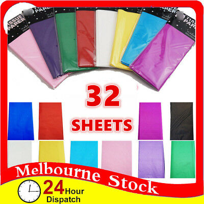 32 x Tissue paper sheets Coloured Party Weding Birthday Gift Wrapping Wrap Bulk