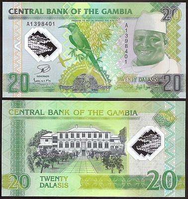 Coins & Paper Money 100% Quality Gambia 20 Dalasis 2015 Prefix A P 33 Banknotes Uncirculated