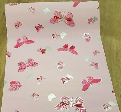Girls Pink Butterfly Bedroom Feature Wallpaper Butterflies