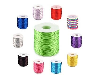 1mm Satin Nylon Cord 53 COLOURS Rattail Thread Kumihimo Shamballa Macrame