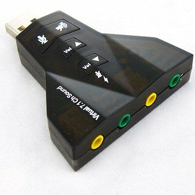USB 2.0 Sound Card Adapter 7.1 Channel, External 3D Stereo Sound Card Adapter PC