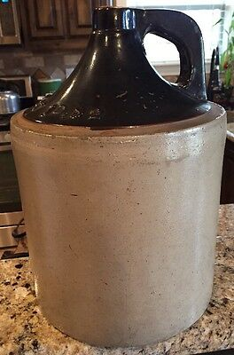 Large Stoneware Whiskey Jug Has Markings Visible In Pictures  Stoneware Crock