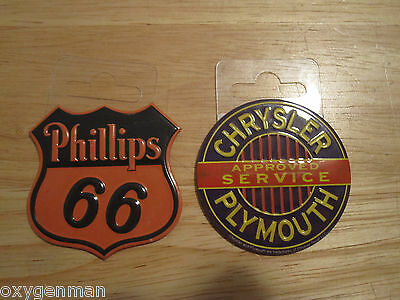 (2) CHRYSLER PLYMOUTH & Phillips 66 Garage Round Metal Magnets for Tool Box etc.