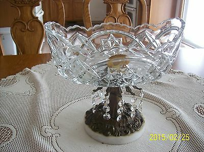 Monarch Crystal West Germany Vintage Compote With Marble & Brass Glass Prisms