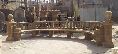 Large Hand Carved Estate Garden Outdoor Antique Stone Bench - Jr547