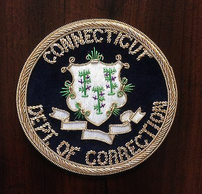 "Connecticut CT Dept of Correction Bullion Patch 3"" Circle Hand Sewn MADE IN USA"