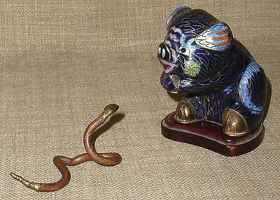 Sale!~Antique Ooak? Chinese Cloisonne Pig With Snake Figurine On Wood Base