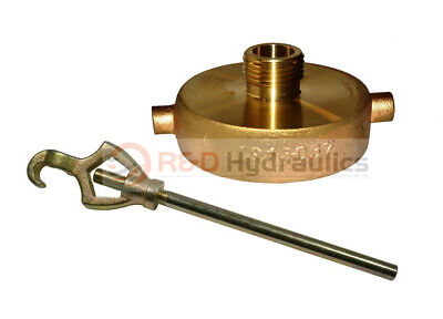 """FIRE HYDRANT ADAPTER COMBO 1-1/2"""" NST(F) x 3/4"""" GHT (M) w/Hydrant Wrench"""