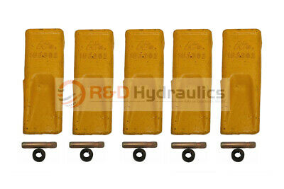 5 Pack 1U3302 Cat Style Standard Chisel Digging Teeth w/Pins & Retainers