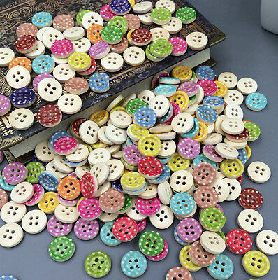 Free DIY Mixed Color 4 Holes Wooden Buttons Fit Sewing Clothing accessories 13mm