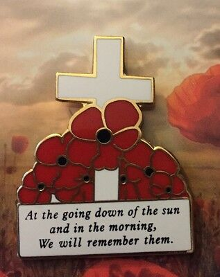 At The Going Down Of The Sun Poppy Cross Remembrance Day Lapel Badge * ANZAC Day