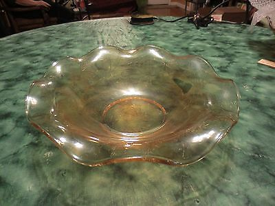 """Vintage Amber Iridescent Carnival Glass Bowl With Ruffled Edge 9 1/2"""""""