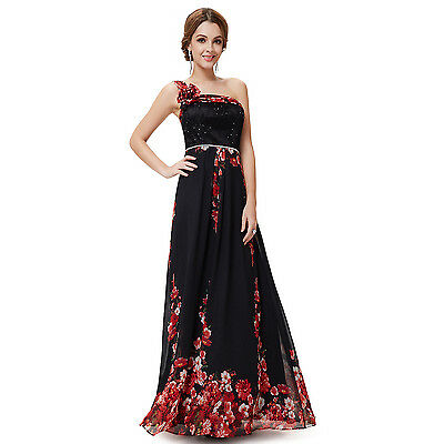Printed Chiffon Evening Party Gown One Shoulder Prom Formal Long Dresses 08246