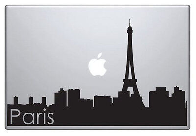 Paris skyline vinyl sticker for Mac Book/Air/Retina laptops. Black decal