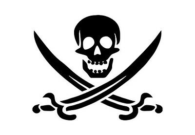 Pirate sticker for cars and computers. Black or white vinyl decal