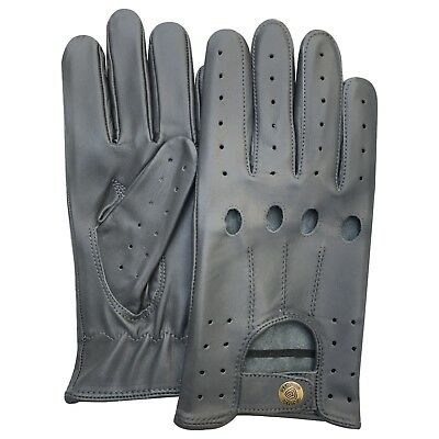 Men's top quality real leather driving fashion gloves stylish elephant grey 507