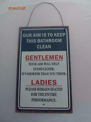HANGING WALL PLAQUE SIGN 240mm x 150mm distressed look BATHROOM RULES