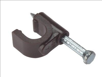 ForgeFix RCC67BR Cable Clip Round Coax Brown 6-7mm Box 100