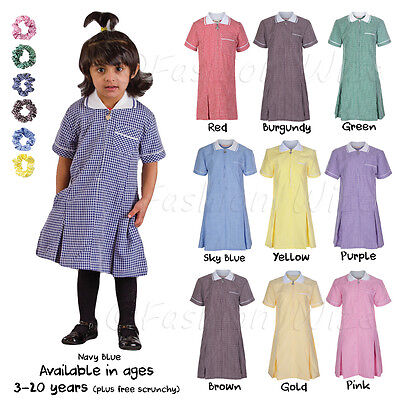 Girls School Summer Dress Gingham Age 3 4 5 6 7 8 9 10 11 12 13 14 15 16 17 18 2