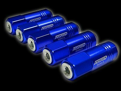 20Pc 12X1.5Mm 60Mm Extended Aluminum Tuner Racing Capped Lug Nuts Blue/Silver
