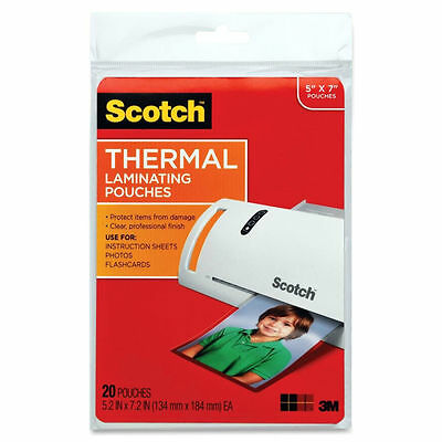 "3M Scotch TP5903-20 Thermal Laminating Pouches Photo Size 20 Pack 5"" x 7"""