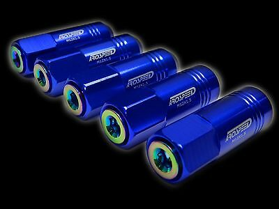 20Pc 12X1.5Mm 60Mm Extended Aluminum Tuner Racing Capped Lug Nuts Blue/neo D