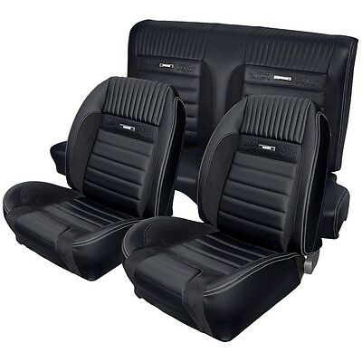 1964-1966 Mustang Deluxe Pony Sport R Seat Upholstery F/R Coupe Black/Grey Foam