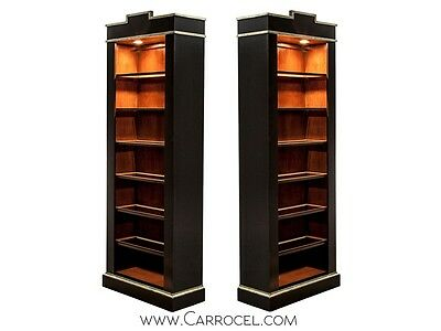 Pair of Black Lacquer Silver Leaf Display Cabinets Bookcases