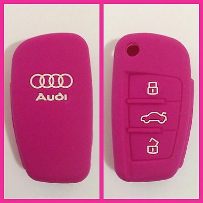 Pink Silicone Car Key Cover Case Protector A2 A3 A4 A6 Tt R8 Flip Key For Audi