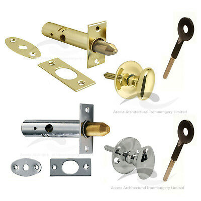 Door Rack Bolts For Added Security Optional Thumb Turn or Key Chrome or Brass
