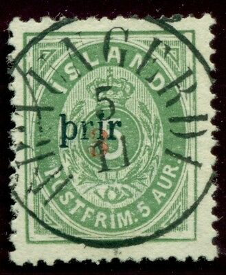 ICELAND #31a 3Prir (large), p.14x13½, used Gronlund & Nielsen certs Scott $4,750