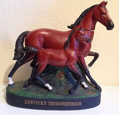 Old Commonwealth Kentucky Thoroughbreads 1977 Hand-Painted Porcelain Decanter