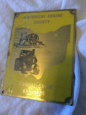 vintage farm plaque Historical Engine Society 1970's Exhibitor Kirkland Ohio