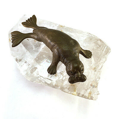 Antique Victorian Bronze Statue of a Walrus on Rock Crystal Plinth, C.1900