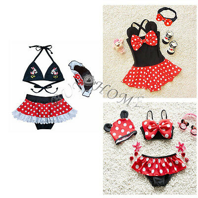 Girl Baby Kid Minnie Mouse Bikini Set Swimwear Swimsuit Bathing Suit + Cap 2T-5T