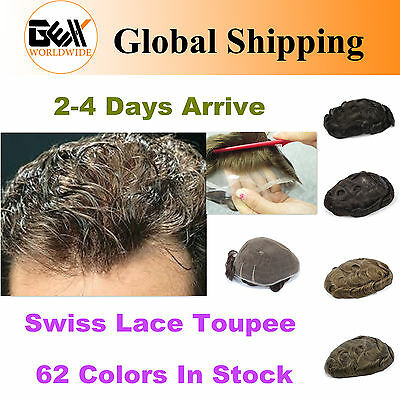 GEX Toupee Mens Hairpiece Swiss Lace Basement Wig Human Hair Replacement System