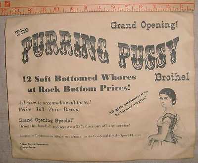 BIG 11 x 14  Purring Pussy Brothel Novelty Poster Handbill, old west, western