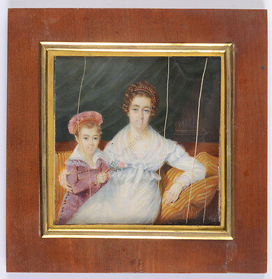 """Portrait of a lady with her little son"", high quality French miniature, 1816"