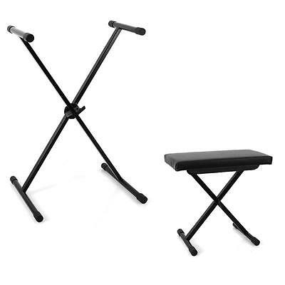 New Studio Keyboard Stand For Digital Piano + Performance Bench Foldable - Black