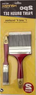 """2 X Wall Paper Pasting Brush Varnish Paint Water Paste & Oil 1"""" 4"""" Brushes New"""