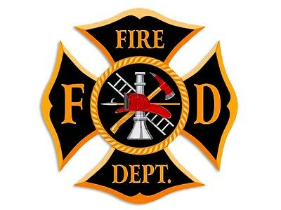 4x4 inch Black & Gold FD Fire Dept Maltese Shaped Sticker - decal firefighter