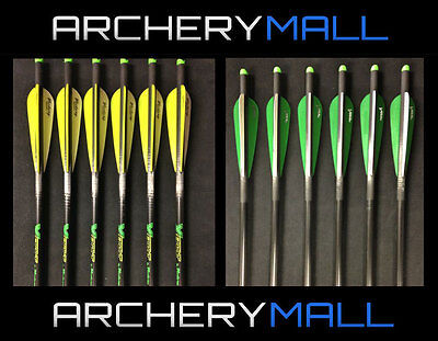 """6 Victory Crossbow Arrows (4"""" Fletching)  20""""&22"""" 1/2 Moon Nocks  ***Closeout***"""