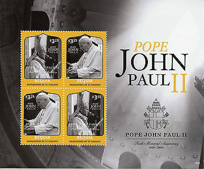 Bequia Grenadines St Vincent 2015 MNH Pope John Paul II 10th Memorial Ann 4v M/S